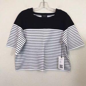 💋Rondina Cotton Striped Boxy Crop Top Sz M